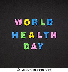 κόσμοs , υγεία , ημέρα , γράψιμο , επάνω , μαύρο , χαρτί