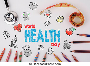 κόσμοs , υγεία , ημέρα , concept., healty , τρόπος ζωής , φόντο