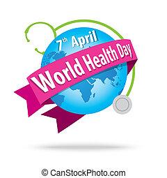 κόσμοs , υγεία , day., γενική ιδέα , με , άρθρο γαία , και , στηθοσκόπιο