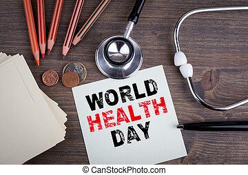 κόσμοs , υγεία , day., γραφείο , με , stetascope, φόντο , για , ιατρική φροντίδα