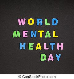 κόσμοs , ψυχική υγεία , ημέρα , γράψιμο , επάνω , μαύρο , χαρτί
