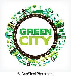 κύκλοs , με , πράσινο , πόλη , - , περιβάλλον , και ,...