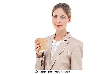 κύπελο , καφέs , μοντέρνος , επιχειρηματίαs γυναίκα