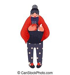κύπελο , κουβέρτα , αμπάρι , ζεστός , tea., κρύο , άντραs