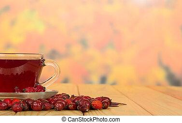 κύπελο , με , πίνω , από , σκύλοs , τριαντάφυλλο , αβγό ψαριού , επάνω , φθινόπωρο , leaves.