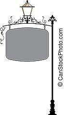 λάμπα , φανάρι , κατεργασμένος σίδηρος , signage