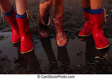 λάστιχο , μετά , μπότεs , βροχή , παιδιά