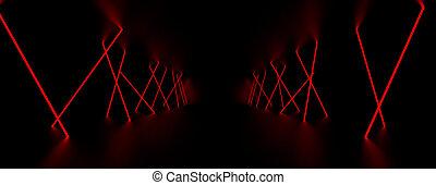 λέηζερ , illustration., room., ελαφρείς , σκοτάδι , λάμπω , κόκκινο , 3d