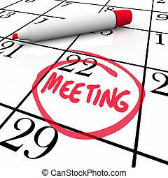 λέξη , αέναη ή περιοδική επανάληψη , μαρκαδόρος , ημερολόγιο , συνάντηση , κόκκινο