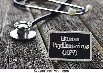 λέξη , ανθρώπινος , concept-, ιατρικός , (hpv), γραμμένος , ξύλο , στηθοσκόπιο , φόντο , μαυροπίνακας , papillomavirus