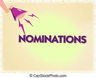 λέξη , γράψιμο , εδάφιο , nominations., αρμοδιότητα αντίληψη , για , suggestions, από , κάποιος , ή , κάτι , για , ένα , δουλειά , θέση , ή , βραβείο