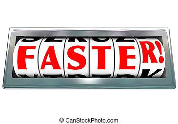 λέξη , γρηγορότερα , βοηθώ ανεξίτηλο , οδόμετρο , γρήγορα , ιπποδρομίες