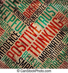 λέξη , σκεπτόμενος , θετικός , concept., - , σύνεφο