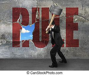λέξη , τοίχοs , κανόνας , σπάζω , sedgehammer, χρησιμοποιώνταs