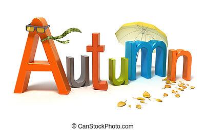 λέξη , φθινόπωρο , με , γεμάτος χρώμα , letters.