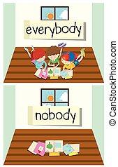 λέξη , everybody, απέναντι , κανέναs