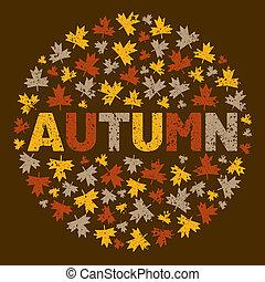 λέξη , illustration., περιβάλλω , δέντρο , φθινόπωρο , φόντο , φύλλο