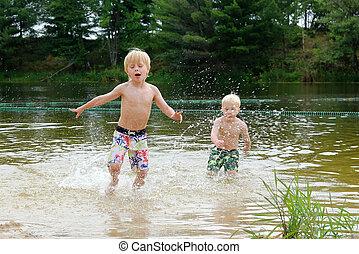 λίμνη , ανώριμος άπειρος , δυο , παίξιμο , κολύμπι