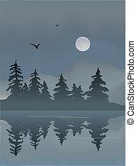 λίμνη , φεγγάρι