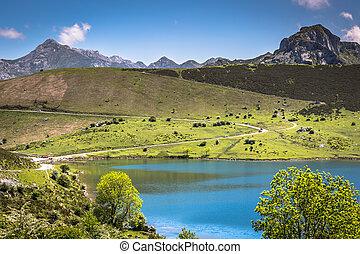λίμνη , enol, και , βουνό , υποχωρώ , ο , φημισμένος , λίμνες , από , covadonga, asturias , ισπανία