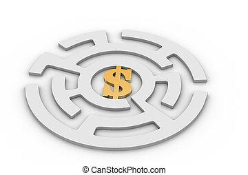 λαβύρινθος , κύκλοs , δολάριο αναχωρώ