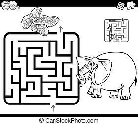 λαβύρινθος , μπογιά , σελίδα , ελέφαντας