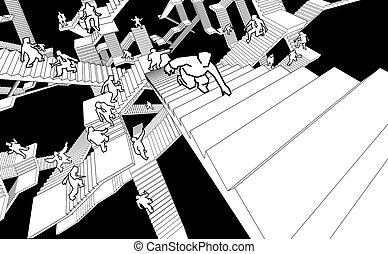 λαβύρινθος , σκάλεs , άνθρωποι