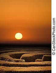 λαβύρινθος , φράχτης , ηλιοβασίλεμα