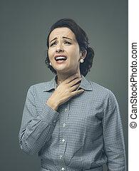 λαιμόs , πονεμένο , γυναίκα
