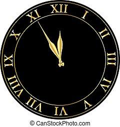λαμπερός , πάρτυ , vector., παραμονή , πρόσκληση , clock., έτος , καινούργιος , μικροβιοφορέας