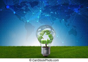 λαμπτήρας φωτισμού , μέσα , πράσινο , περιβάλλον , γενική ιδέα , - , 3d , απόδοση