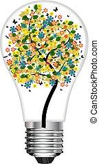 λαμπτήρας φωτισμού , με , δέντρο