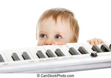 λατρευτός , πίσω , stanging, παιδί , πιάνο , ηλεκτρονικός