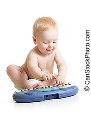λατρευτός , πιάνο , ηλεκτρονικός , παίξιμο , παιδί