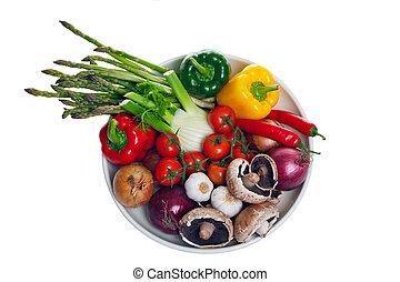 λαχανικά , γαβάθα , απομονωμένος , επάνω , white.