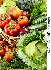 λαχανικά , μέσα , πλεχτό καλάθι
