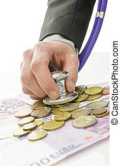 λεπτομέρεια , από , τραπεζίτης , ανάμιξη αμπάρι , στηθοσκόπιο , πάνω , euro , χρήματα
