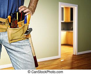 λεπτομέρεια , από , toolbelt , επάνω , εργάτης κατάλληλος...