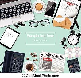 λεπτομερής , γραφείο , γυαλιά , laptop , γραφείο , realistic., εξάρτημα , μικροβιοφορέας , εφημερίδα , cds , διευκρίνιση , εφόδια , 3d