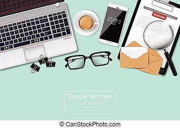 λεπτομερής , γραφείο , cofee, realistic., laptop , εξάρτημα , μικροβιοφορέας , γραφείο , διευκρίνιση , γυαλιά , 3d