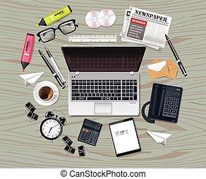 λεπτομερής , θέτω , γραφείο , επιχείρηση , realistic., laptop , γυαλιά , συλλογή , εξάρτημα , μικροβιοφορέας , διευκρίνιση , εφόδια , τσάντα , 3d