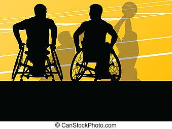 λεπτομερής , καλαθοσφαίρα , περίγραμμα , αναπηρική καρέκλα ,...