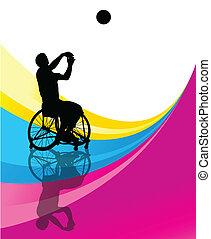 λεπτομερής , καλαθοσφαίρα , περίγραμμα , αναπηρική καρέκλα...