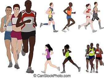 λεπτομερής , χρώμα , τρέξιμο , εικόνα , άνθρωποι