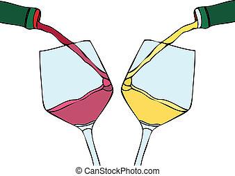 λευκό κρασί , και , κόκκινο κρασί