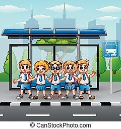 λεωφορείο , αγέλη ιχθύων αστειεύομαι , σταματώ , ευτυχισμένος