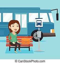 λεωφορείο , αναμονή , γυναίκα αρμοδιότητα , stop.