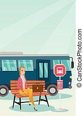 λεωφορείο , αναμονή , γυναίκα ινδοευρωπαίος , stop.