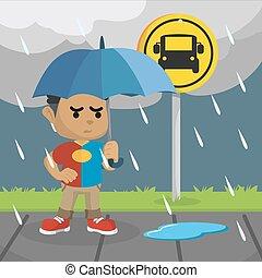 λεωφορείο , αναμονή , παιδί , βροχή , αφρικανός