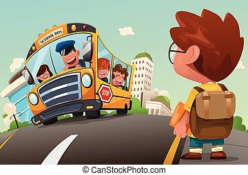 λεωφορείο , αναμονή , σταματώ , παιδί